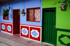 Typically colourful buildings in Guatape stock photos