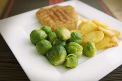 Typically dutch food. Brussels sprouts, fried potato and schnitzel royalty free stock photography