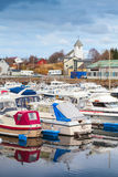 Typically Norwegian fishing village landscape Royalty Free Stock Photo