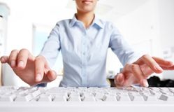 Before typing. Photo of woman�s hands over keyboard in the office Royalty Free Stock Photos