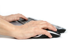 Typing. Hands on a keyboard and a mouse Stock Image