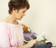 Typing in Credit Card Info Stock Photography