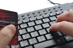 Typing credit card information on Chinese keyboard Royalty Free Stock Photos