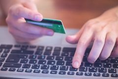 Typing credit card number royalty free stock photos