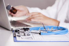 Typing doctor Stock Photography