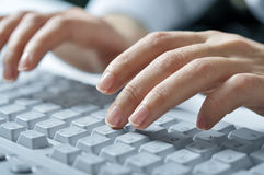 Typing female hands. Close-up of typing female hands on white keyboard stock photos