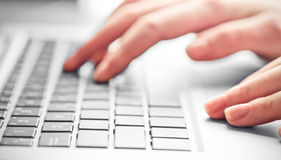 Typing female hands on keyboard Stock Photos