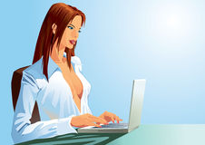 Typing girl. A sexy girl is typing on her laptop Royalty Free Stock Image