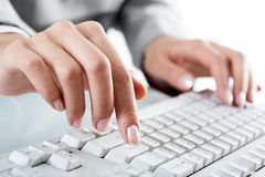 Typing hand Royalty Free Stock Images
