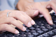 Typing hand close-up Royalty Free Stock Image