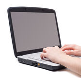 Laptop hands typing isolated. Isolated image of laptop and hands, typing Royalty Free Stock Photo