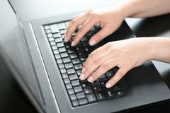 Typing hands royalty free stock photos