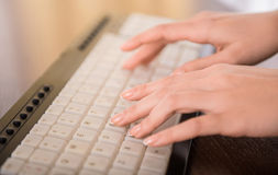 Typing hands stock image