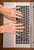 Typing hands royalty free stock photography