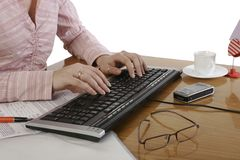 Typing on a keyboard. A photo of typing on a keyboard Stock Images