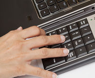 Typing on keyboard. Royalty Free Stock Photography