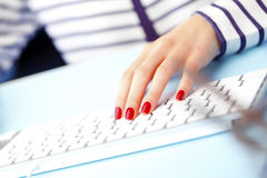 Typing on keyboard Royalty Free Stock Photos