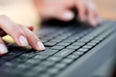 Typing on the keyboard - Enter button Royalty Free Stock Photography
