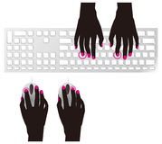 Typing on keyboard and mouse Stock Photography