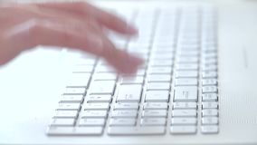Typing on Laptop 4K. Man Typing on Laptop White Keyboard. Closeup Hands Texting on Keys 4K stock video
