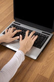 Typing With Laptop PC Stock Photo