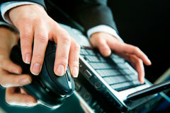 Typing a letter. Photo of hands typing a letter on the laptop stock photos