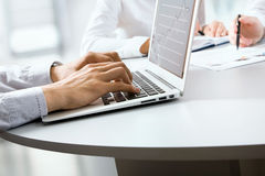 Typing male hands Stock Images