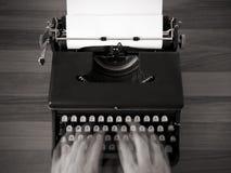 Typing on old typewriter Stock Photo