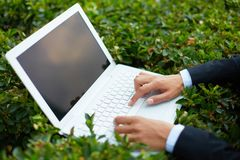 Typing outside Stock Photo