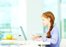 Typing pupil Stock Photography