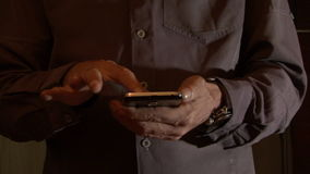 Typing the Smart Phone. Man Using the Smart Phone stock video footage