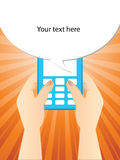 Typing a SMS. On a cell phone Stock Photography