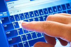 Typing on touch. Screen virtual keyboard Royalty Free Stock Images