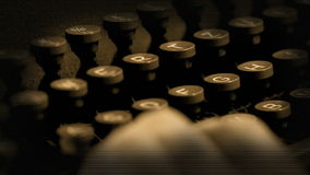 Typing on typewriter with added effects stock footage
