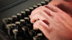 Typing on typewriter. Close up of typing on typewriter stock footage