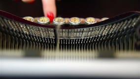 Typing on Vintage Typewriter. Finger Typing on Vintage Typewriter stock video