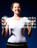 Typing on virtual keyboard Royalty Free Stock Image
