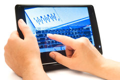 Typing www on touch screen. Virtual keyboard Stock Photos