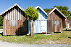 Typique colored wooden houses in biganos port Royalty Free Stock Photos