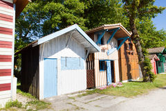 Typique colored wooden houses in biganos port Stock Photos