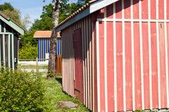 Typique ha colorato le case di legno nel porto di biganos Immagine Stock Libera da Diritti