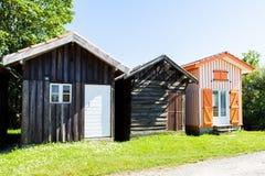 Typique ha colorato le case di legno nel porto di biganos Fotografia Stock Libera da Diritti