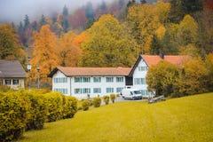 Typisch Autumn Alpine Countriside Landscape, November-mist stock fotografie