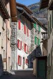 Typisch bergdorp in Valais Zwitserland royalty-vrije stock foto