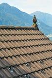 Typisch dak van een traditioneel landelijk Zwitsers huis stock fotografie