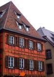 Typisch half betimmerd huis in Obernai - de Elzas Stock Afbeelding