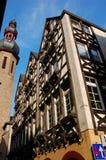 Typisch helft-betimmerd Huis in Duitsland stock afbeeldingen