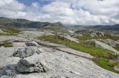 Typisch heuvelig landschap met fjorden in zuidelijk Noorwegen Stock Afbeeldingen