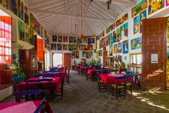 Typisch historisch restaurant in de stad van Santa Fe van Antioquia royalty-vrije stock afbeelding
