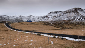 Typisch Ijslands landschap en plattelandshuisjehuis Royalty-vrije Stock Fotografie